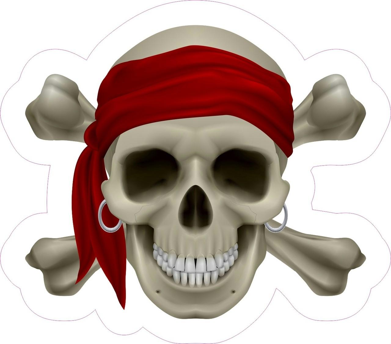 4 75x4 25in Realistic Pirate Skull Bumper Sticker Decal