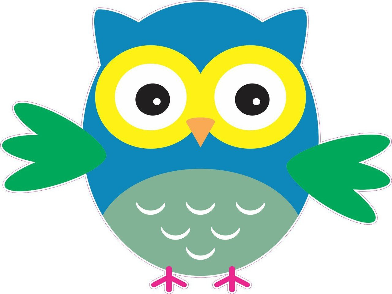 4inx5in Blue And Green Owl Owls Bumper Sticker Decal Vinyl