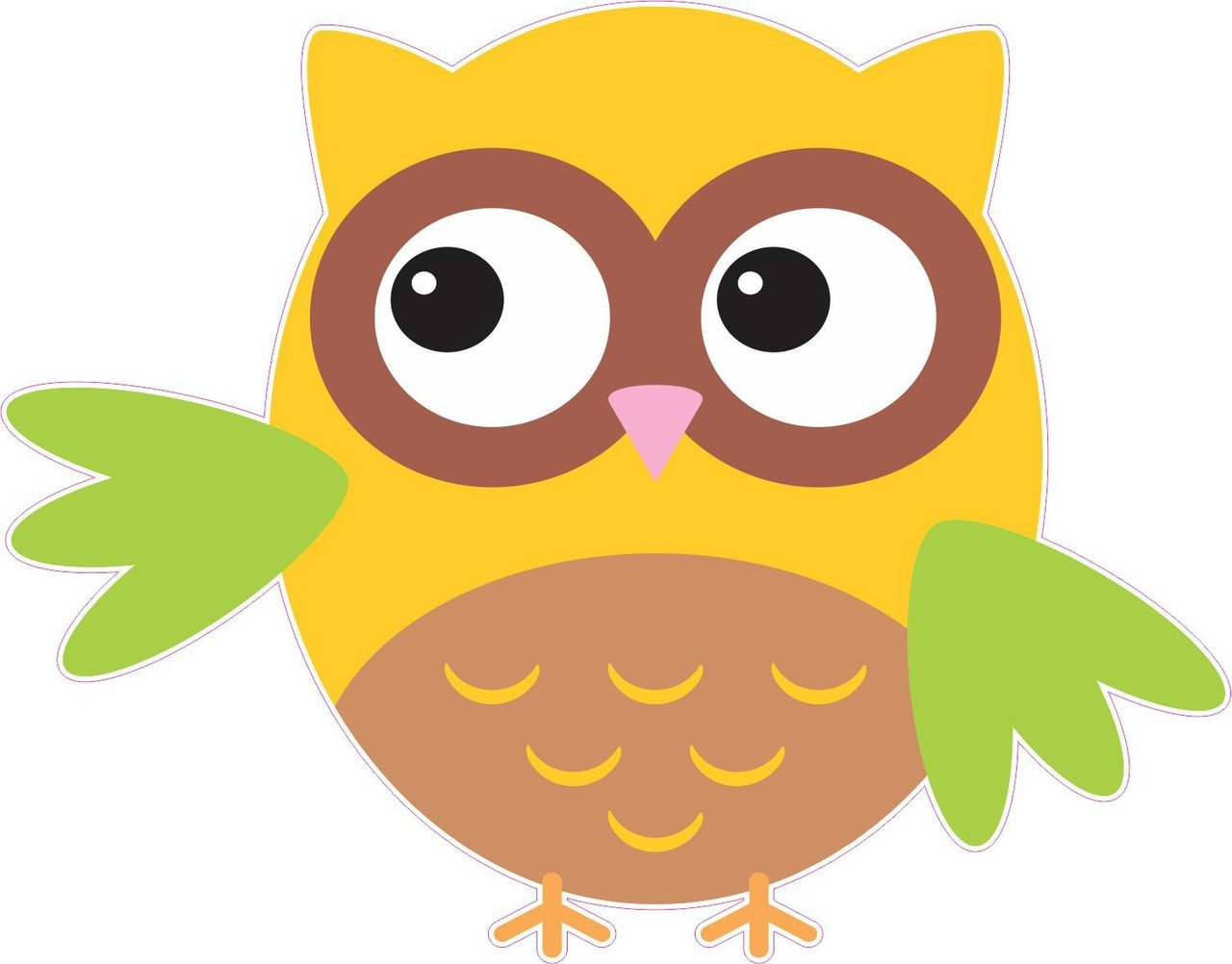 4inx5in Yellow And Green Owl Owls Bumper Sticker Decal