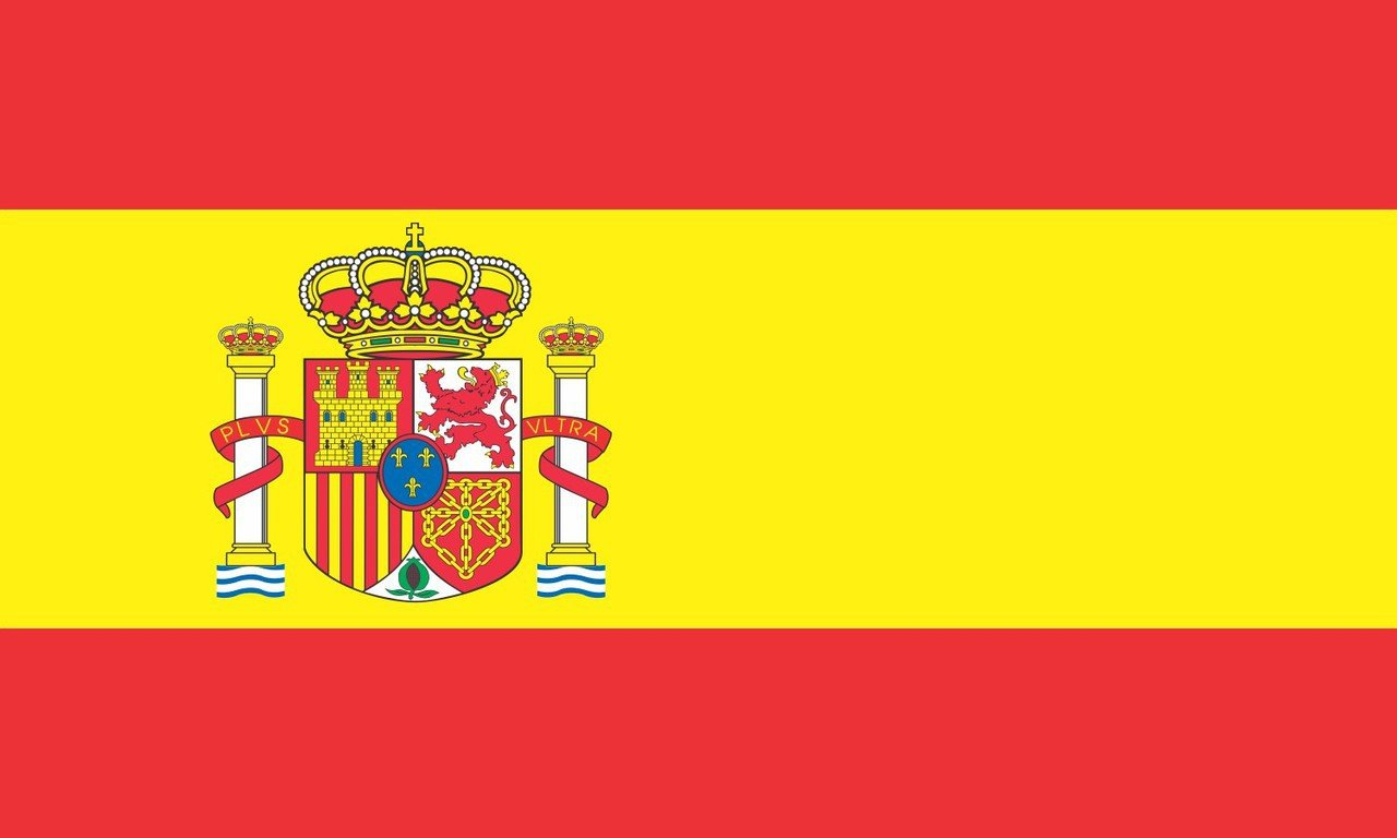 5in x 3in spain country espa ia spanish flag bumper sticker decal window stickers car decals - Drapeau espagnol a colorier ...