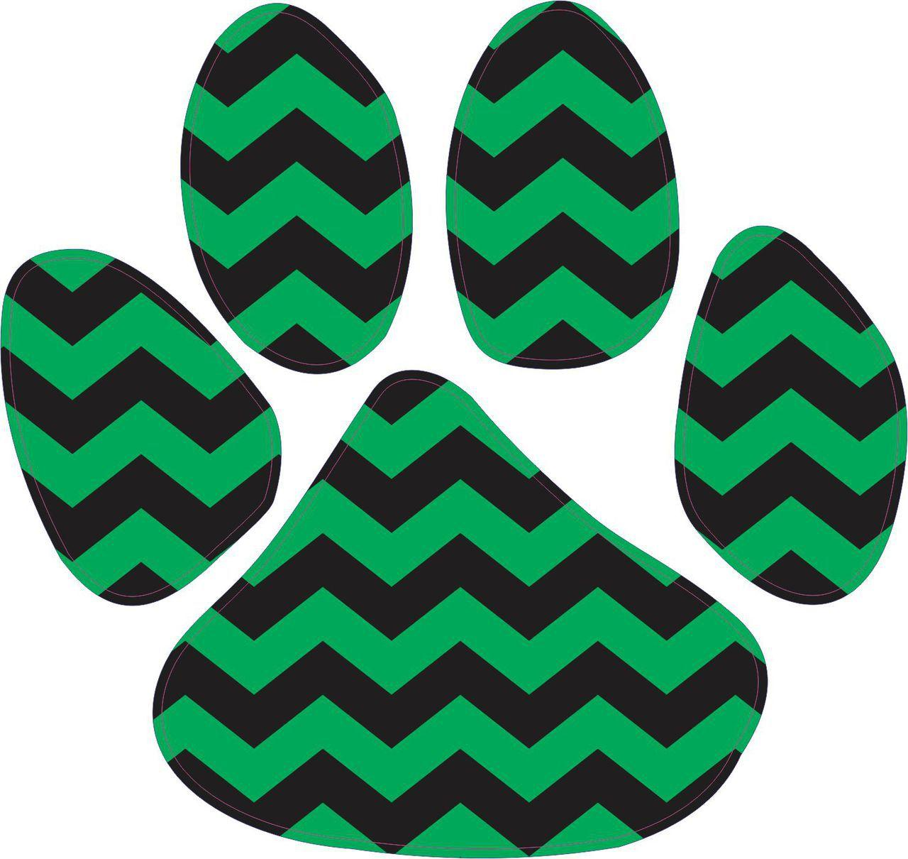 5in X 4 5in Green And Black Chevron Paw Print Animal