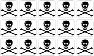 15x 1″ x 1″ Inverse Jolly Roger Pirate Flag Bones Bumper Sticker Decal Stickers Decals