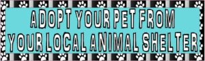 10in x 3in Adopt Your Pet From Your Local Animal Shelter Bumper Sticker Vinyl Window Decal