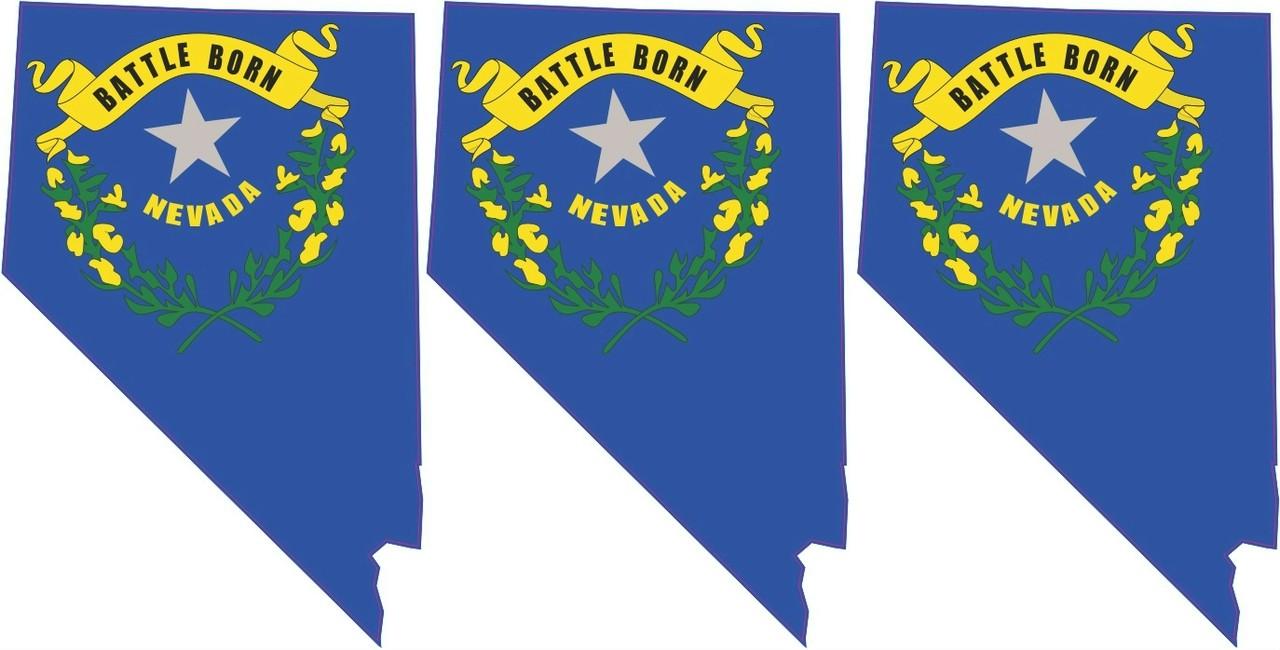 1 5in X 2 3in 3x Die Cut Nevada State Flag Sticker Vinyl