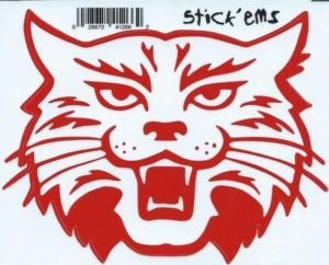 4.5″x4″ Red White Wildcat Mascot Bumper Sticker Decal Vinyl Car Stickers Decals
