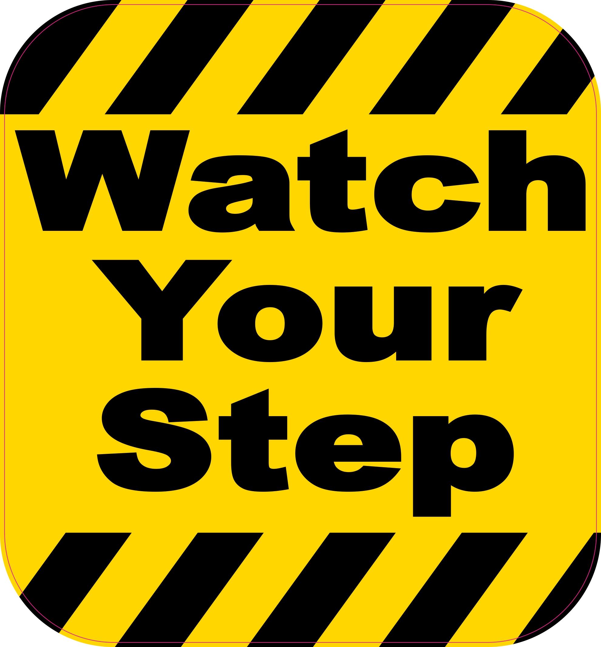65in x 7in watch your step sticker stickertalk174