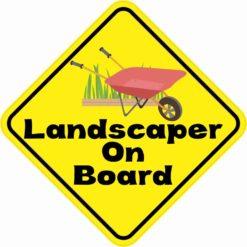 Landscaper On Board Sticker