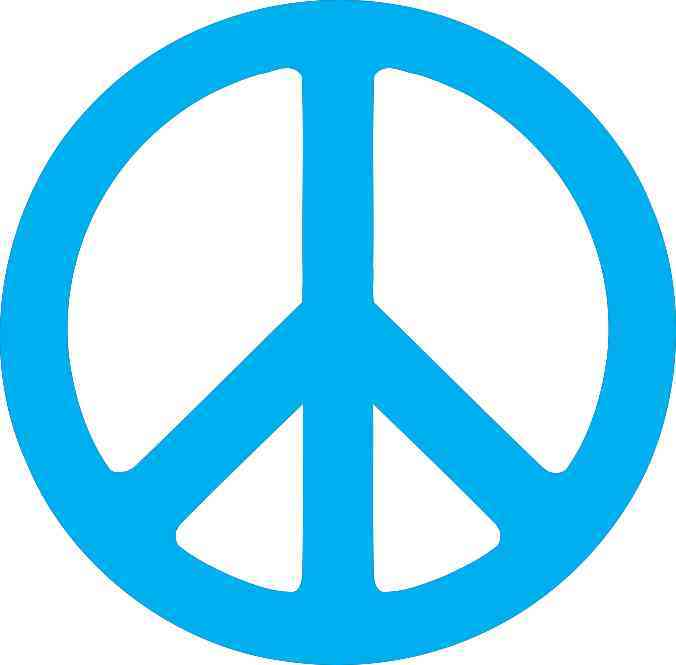 45in X 45in Blue Peace Symbol Bumper Sticker Decal Car Window