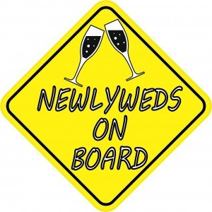 Newlyweds On Board Just Married Stickers