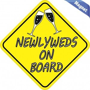 Newlyweds On Board Married Magnets