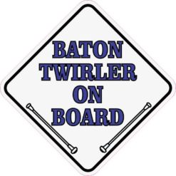 Blue White Baton Twirler On Board Sticker