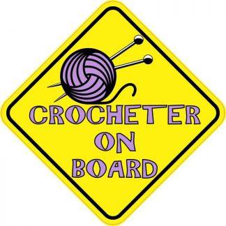 Purple Crocheter on Board Sticker