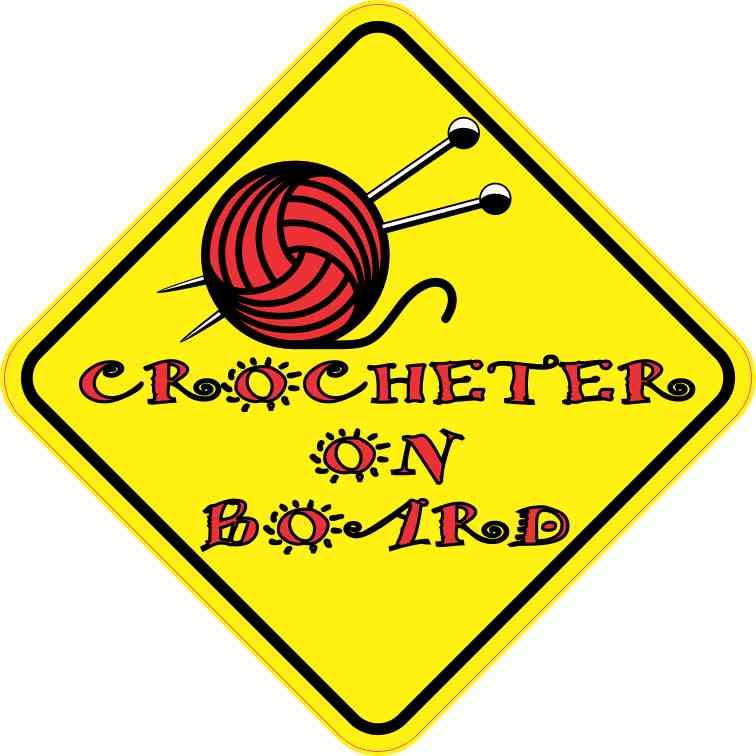 Crocheter on Board Sticker