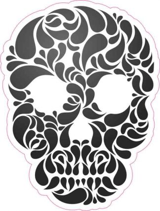 Black and White Swirl Skull Bumper Sticker
