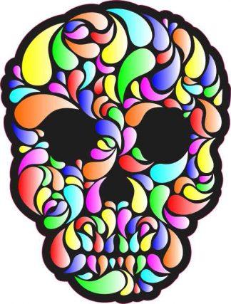 faded multi-color swirl skull bumper sticker