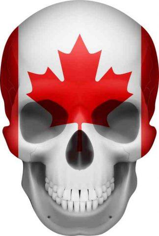 Canadian Flag skull bumper sticker
