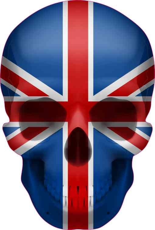 British Flag Skull Bumper Sticker