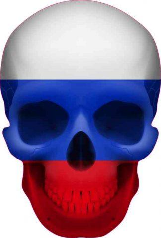 Russian Flag Skull bumper sticker