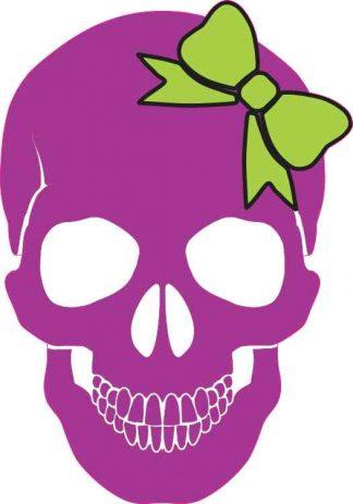 purple with green bow skull bumper sticker