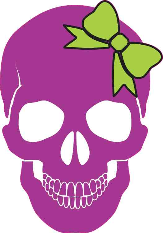 purple with green bow skull bumper sticker