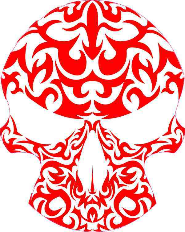 Red-Orange Tribal Skull Sticker