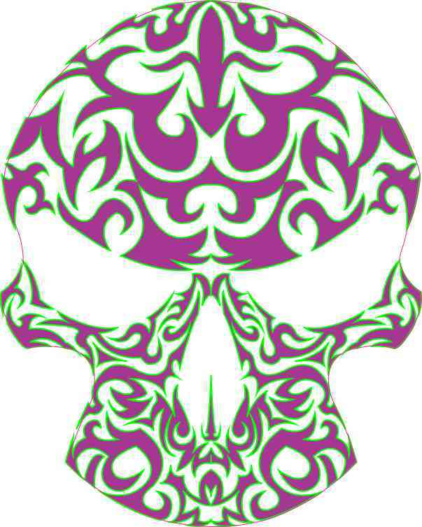 purple and green skull bumper sticker
