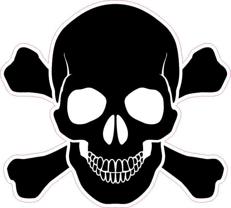 5in x 5in black skull and crossbones bumper sticker vinyl
