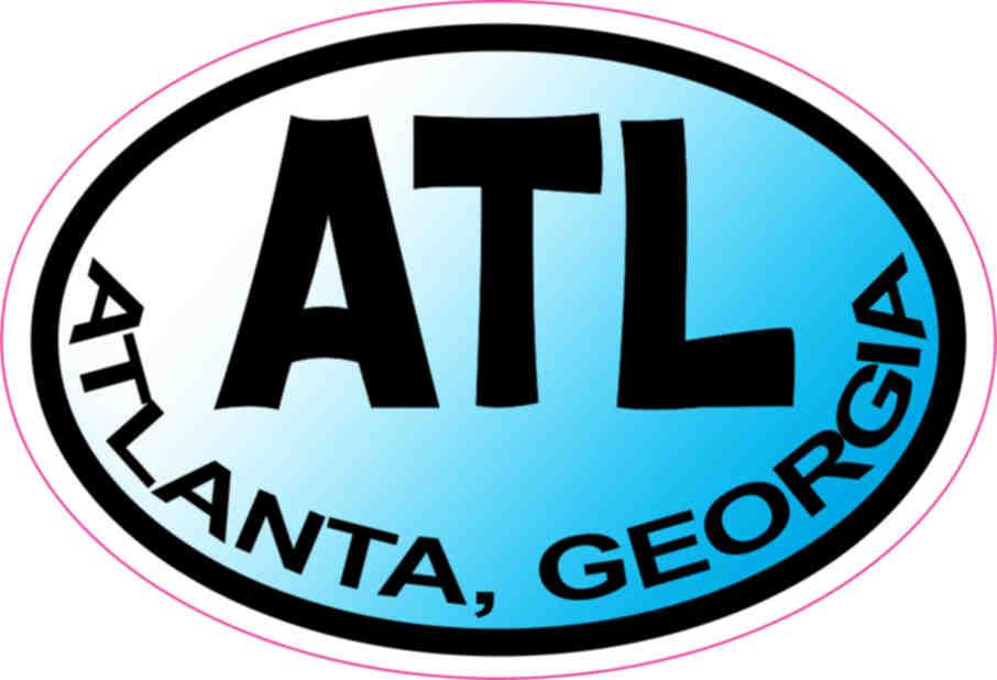 3in x 2in blue oval atlanta sticker vinyl georgia vehicle bumper stickers stickertalk. Black Bedroom Furniture Sets. Home Design Ideas