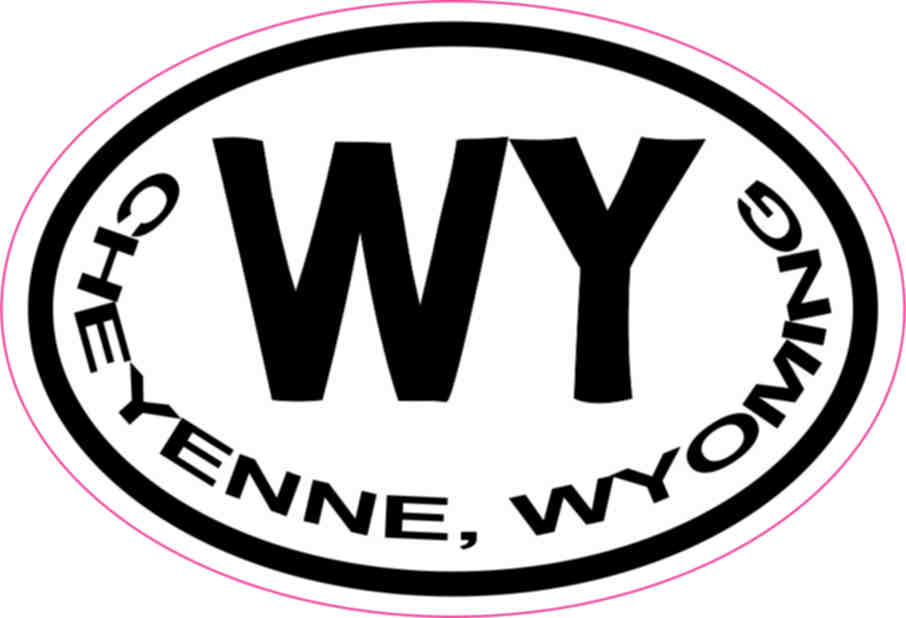 3in X 2in Oval Cheyenne Wyoming Sticker Vinyl State City