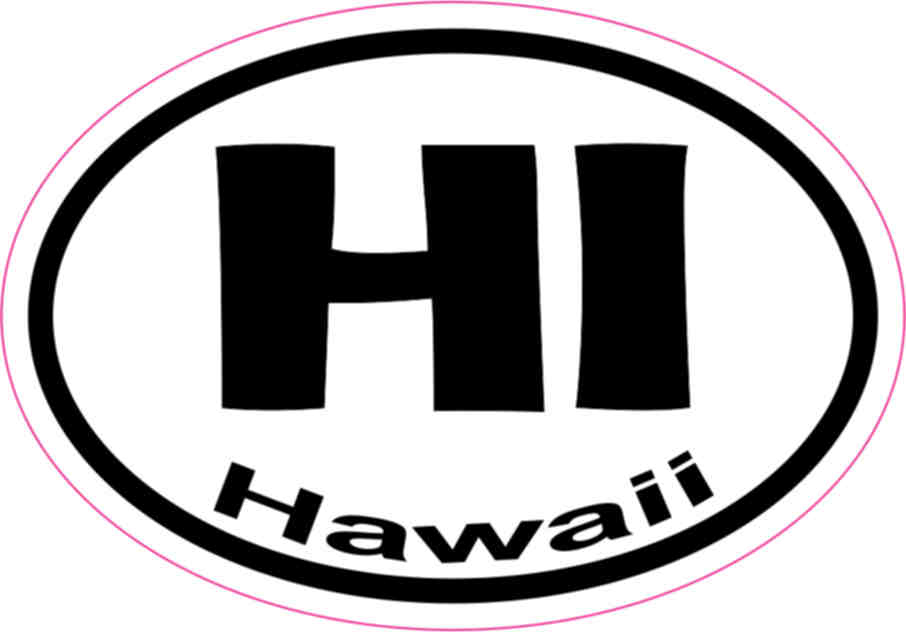 Hawaii State Oval Sticker Decal Vinyl HI
