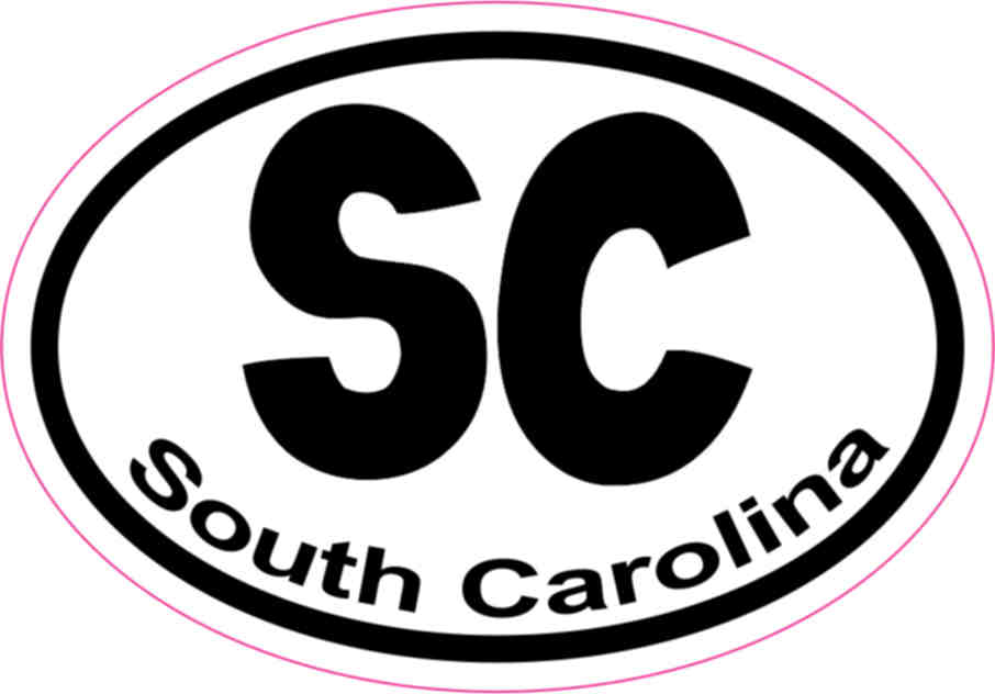 3in X 2in Oval Sc South Carolina Sticker Vinyl Window State Bumper