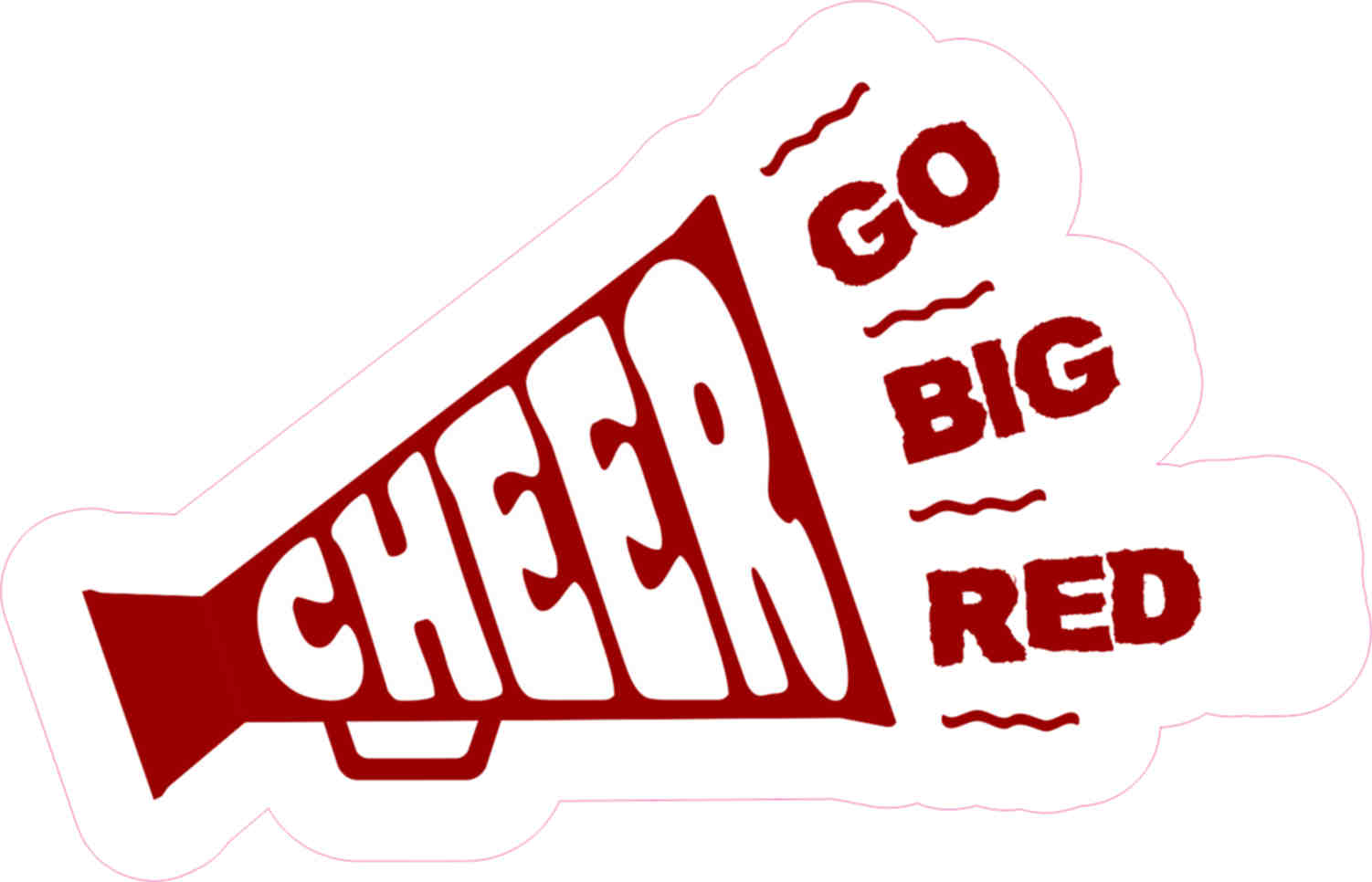 5in X 3in Dark Go Big Red Megaphone Cheer Sticker Vinyl