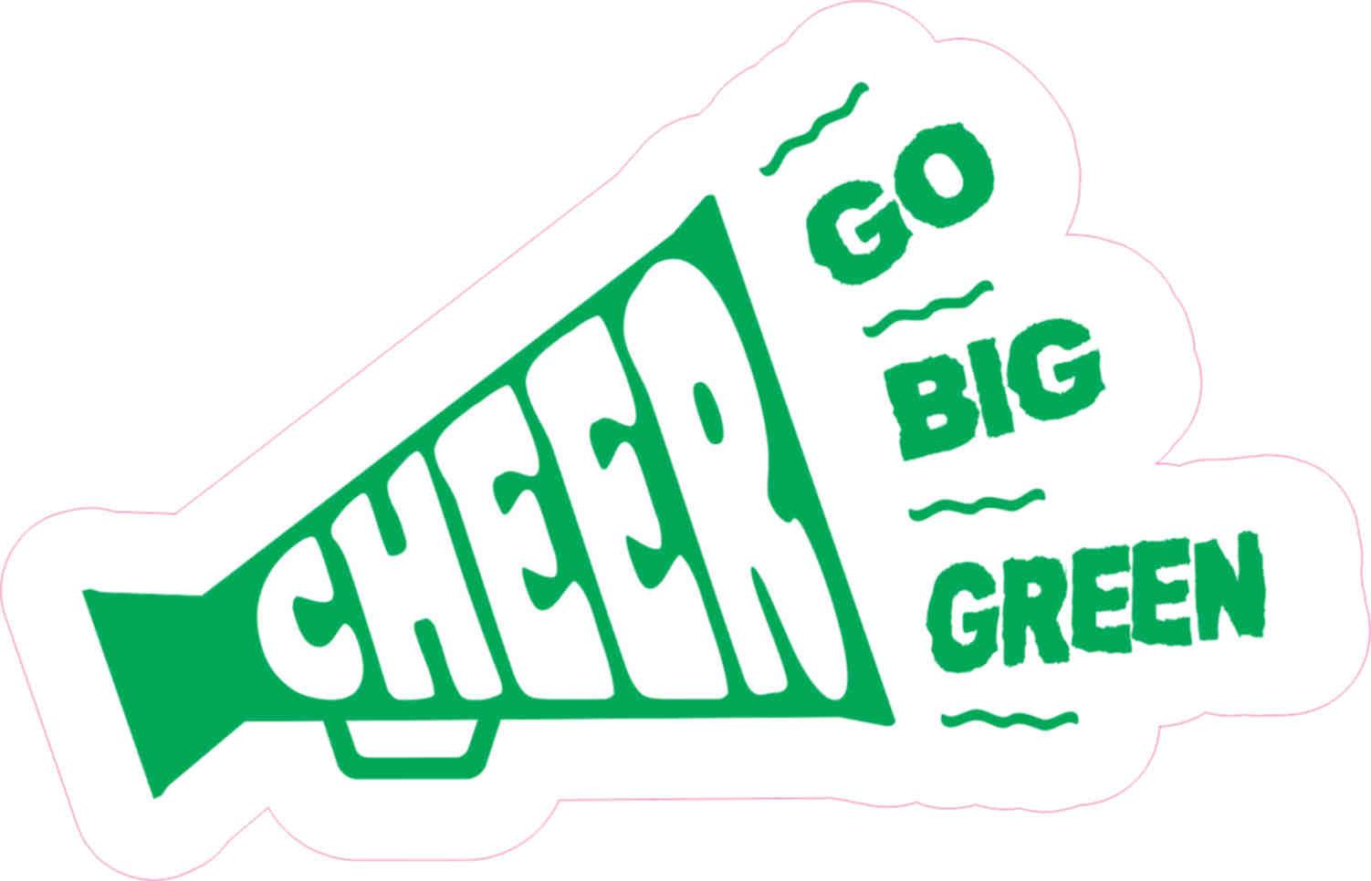 5in X 3in Go Big Green Megaphone Cheer Sticker Vinyl