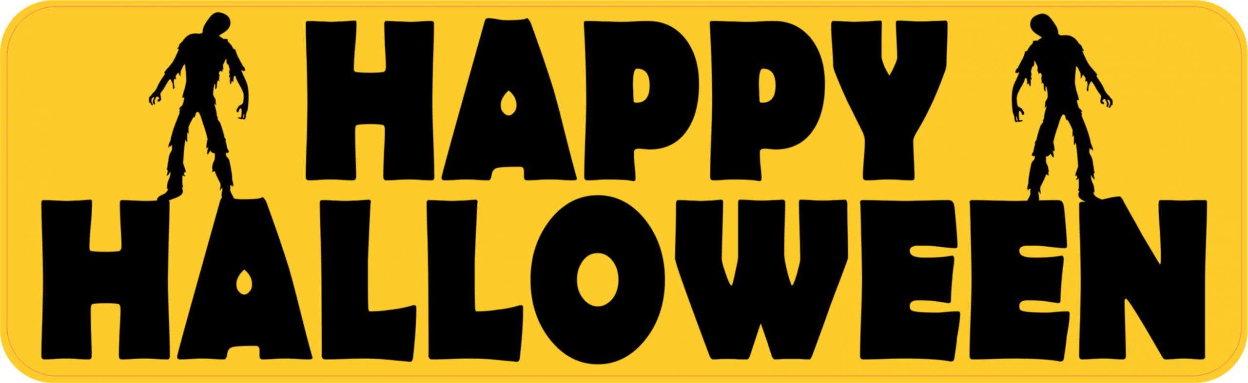 10in X 3in Zombie Happy Halloween Bumper Sticker Vinyl Holiday Stickers Stickertalk
