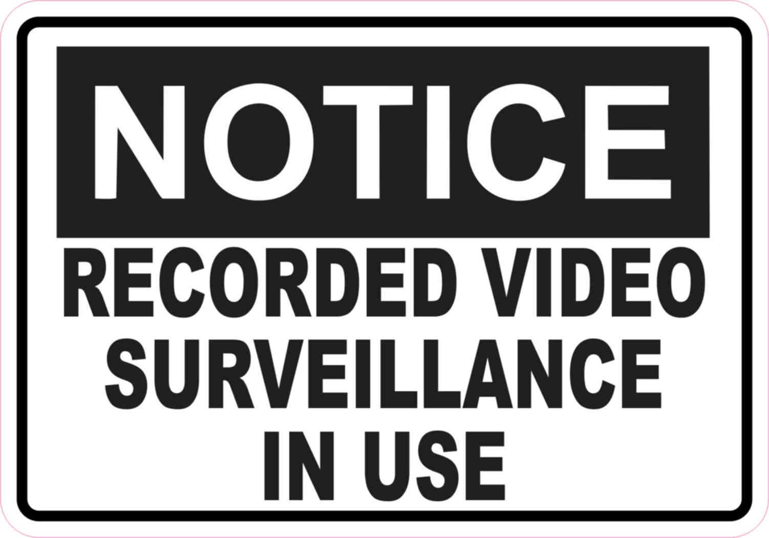 5in x 3.5in Notice Video Surveillance Sticker Vinyl Signs ...