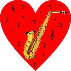 Red Saxophone Heart Sticker
