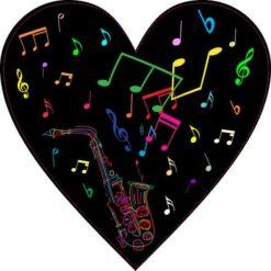 Neon Saxophone Heart Sticker