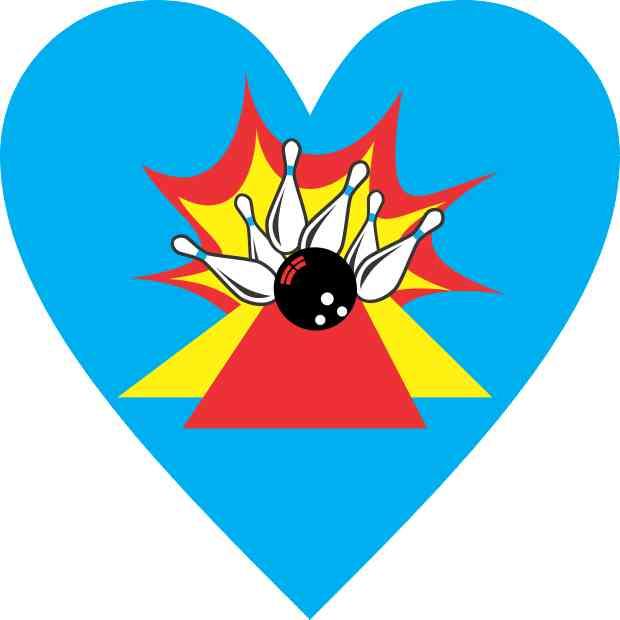 Heart Bowling Sticker