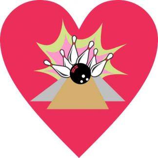 Pink Heart Bowling Sticker