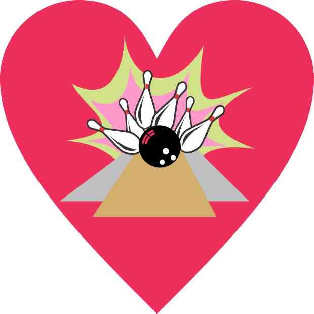 4inx4in Pink Heart Bowling Sticker Vinyl Sports Tumbler ...