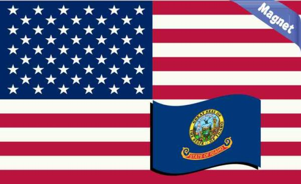 America and Idaho Flag Magnet