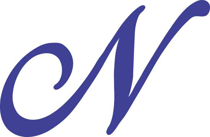 4.75in x 3in Blue Cursive N Monogram Sticker Fancy Vinyl ...