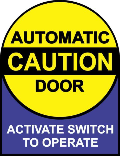 Instructions Caution Automatic Door Sticker
