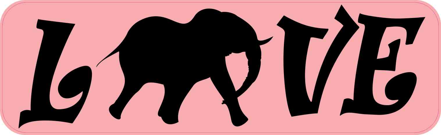 Love Elephant Bumper Sticker