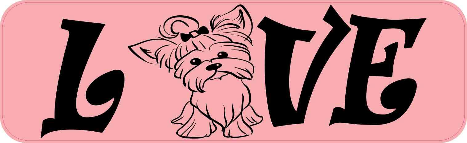 Love Yorkie Bumper Sticker