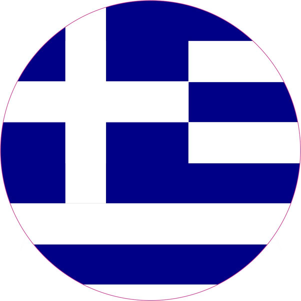 Round Greece Flag Sticker