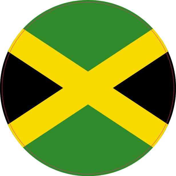 Round Jamaica Flag Sticker