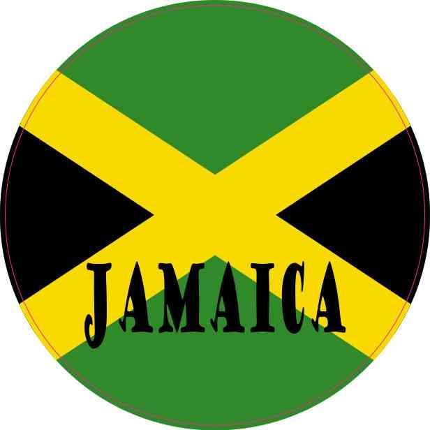 Round Labeled Jamaica Flag Sticker