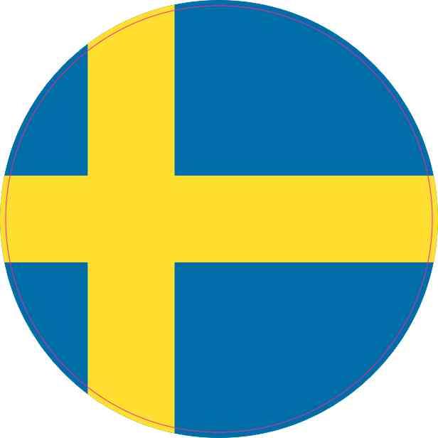 4x4 Round Sweden Flag Sticker Vinyl Vehicle Decal Travel