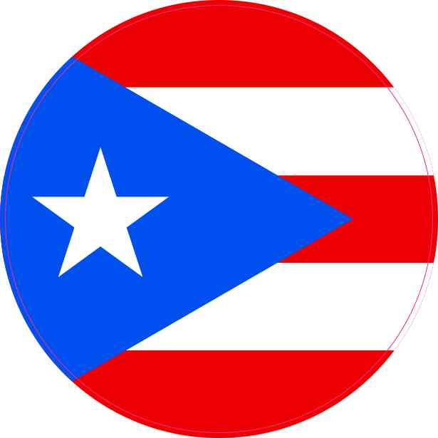 Round Puerto Rico Flag Sticker